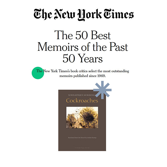 My Book Cockroaches included among THE New York Times's best 50 memoirs published since 1969.