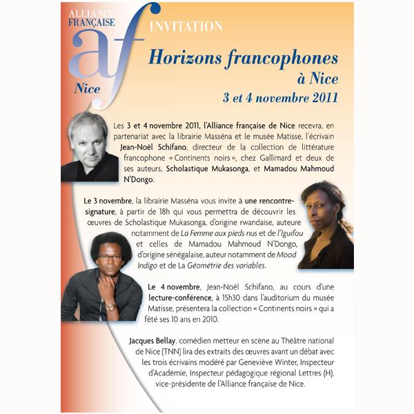 Horizons francophones à Nice 3 et 4 novembre