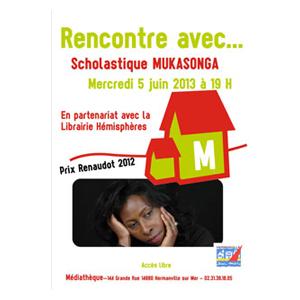 Scholastique Mukasonga à la médiathèque d'Hermanville-sur-Mer le 5 juin à 19h