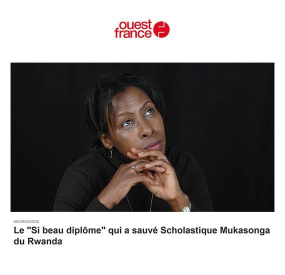 """Ouest France: Le """"Si beau diplôme"""" qui a sauvé Scholastique Mukasonga"""