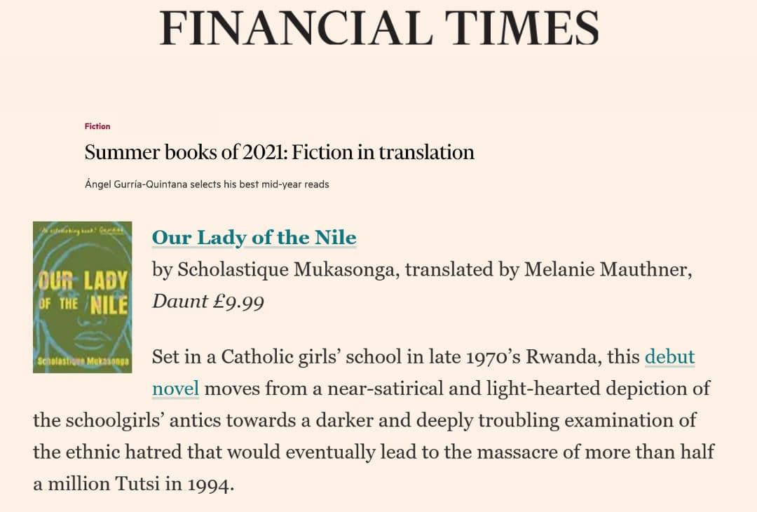 Our lady of Nile dans la selection Summer books of 2021 du Financial Times